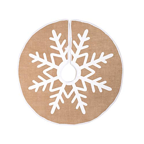 MACTING Christmas Tree Skirt, 30 Inches Burlap Tree Skirt with White Snowflakes Printed Tree Foot Base Cover for Xmas Tree Christmas Decoration