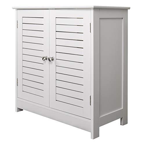 eSituro Mueble Bajo Lavabo Armario de Suelo para Baño Mueble de Baño Organizador 2 Puertas, MDF Blanco 60x30x60cm SBP0024