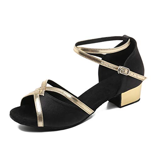 """JZNXdanza Low Heel Satin Latin Dance Shoes Women Ballroom Performance Shoes Salsa Practice Dancing Shoes with 1.2 inch Heels(Black-1.2"""" Heel,8.5)"""