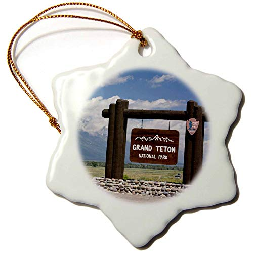 VinMea Snowflake Keepsake Xmas Hanging Ornament, 97334_1 Welcome Sign, Grand Teton Np, Wyoming Us51 Jgs0021 Jim Goldstein Porcelain Ornament, 3-Inch