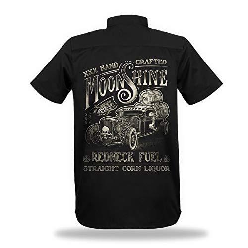 Trillest Gear Worker Hemd Shirt Hot Rod Moonshine Redneck Fuel Herren Oldtimer Biker Rockabilly V8 (XL)