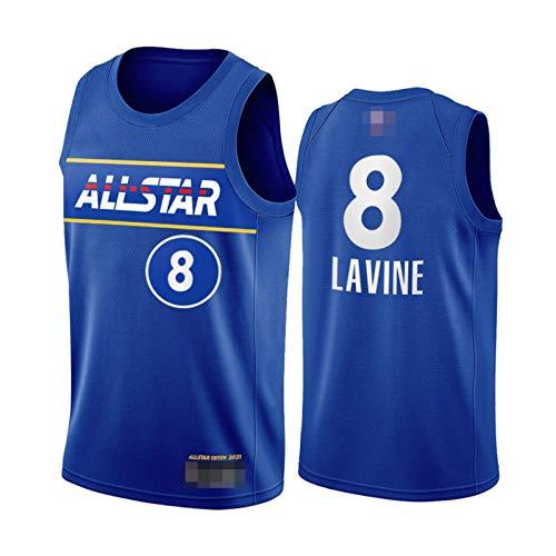 GGLL Durant Team #8 Zach LaVine - Uniforme de baloncesto para todas las estrellas, temporada 2021, chaleco deportivo transpirable, color azul y XXL