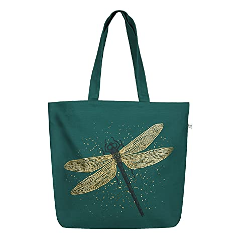 EcoRight - Bolsa de lona con cremallera para mujer, reutilizable, bolsa de compras, bolsa de playa, Libélula efecto purpurina (verde), L
