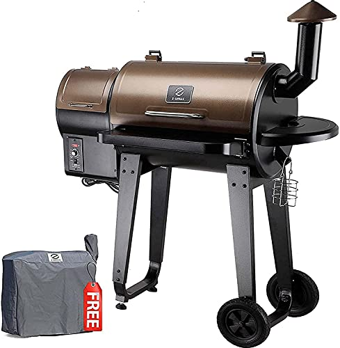 Z GRILLS ZPG-450A 2021 Upgrade Wood Pellet Grill & Smoker 8 in 1 BBQ Grill Auto Temperature Control, 450 Sq in Bronze