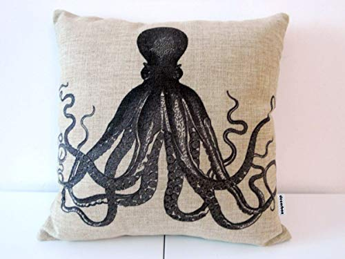 iksrgfvb Cotton Square Throw Pillow Case Decorative Cushion Cover Pillowcase for Sofa Octopus 45X45 CM