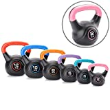 Core Balance Single Vinyl Kettlebell, Colour-Coded Weight, Home Gym Strength Training, Cardio Workout, 1 x 2kg 4kg 6kg 8kg 10kg 12kg