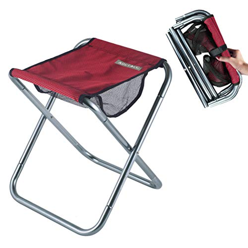 Large Ultralight Portable Folding Camping Stool for Outdoor Fishing Hiking Backpacking Travelling Little Stools (Red, X-Large:15.7'x14.2'x13')