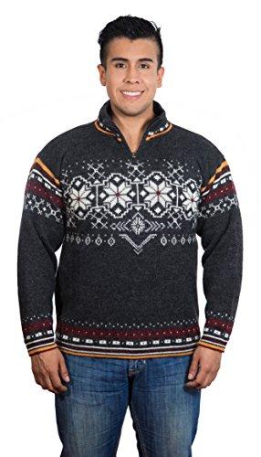 Chompas Troyer Marko | 100% Alpaka-Wolle | Pullover Herren Blau Weiß Rot (XL)