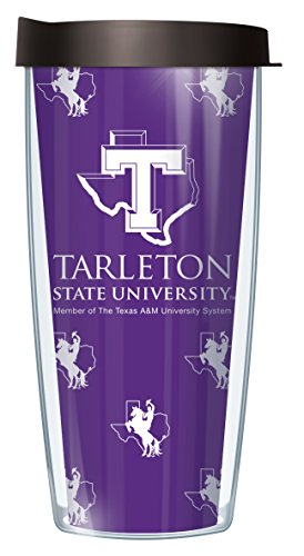 Signature Tumblers Tarleton State University Repeat Logo Wrap on Purple 22 Ounce Double-Walled Travel Tumbler Mug with Black Easy Sip Lid