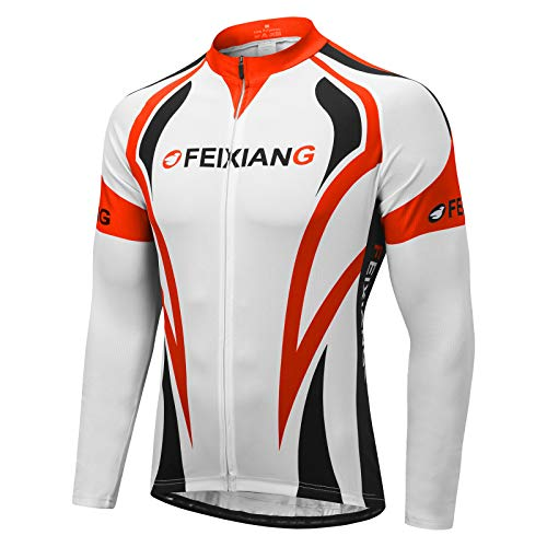 FEIXIANG Men's Cycling Jersey, Long Sleeve Cycle Tops Full Zipper Breathable Bicycle Jerseys Quick Dry Mountain Bike Shirt Biking MTB Clothing