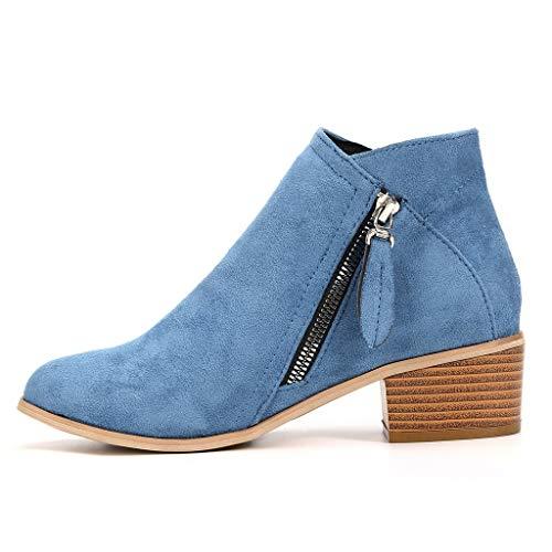 Ankle-Boots Damen Stiefeletten Flach Spitze Stiefel Kurzstiefel mit Reissverschluss, Frauen Wildleder Bequem Schuhe Mode Elegant Halbstiefel Celucke (Blau, 39 EU)