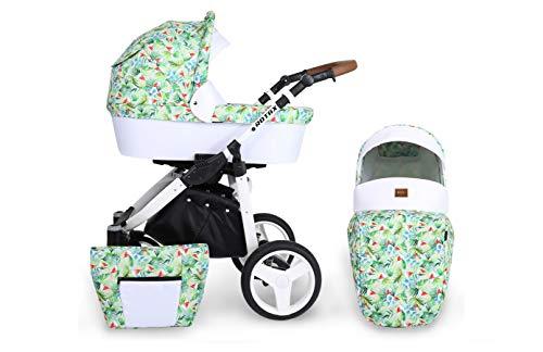 KUNERT Kinderwagen ROTAX Sportwagen Babywagen Autositz Babyschale Komplettset Kinder Wagen Set 2 in 1 (Wassermelone, Rahmenfarbe: Weiß, 2in1)