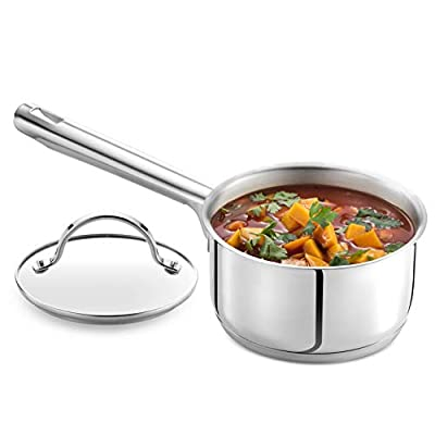GOURMEX Tango Induction Saucepan | Stainless Steel Pot With Glass Cookware Lid | Interior Measurement Markings | Compatible with All Heat Sources | Dishwasher Oven Safe (2.6 Quart)