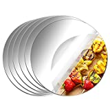 Aneco 6 Pack Acrylic Round Mirrors Non Glass Round Mirror Plate Self Adhesive Mirror Stickers for Home Wall Decor or Wedding Table Centerpiece, 6 Inches, (Thickness 2 mm)