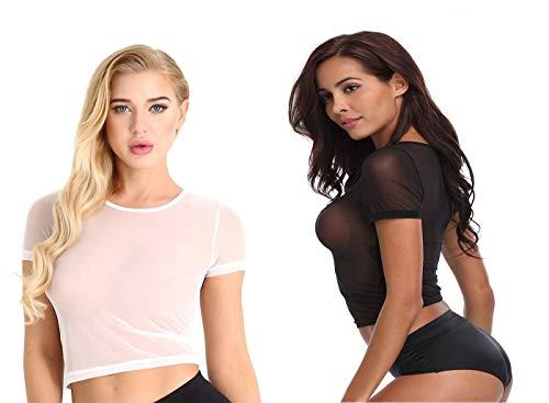 JnZeBly Bundle Women Sheer See-Through Gauze Crop Babydoll Tee Shirt Short Sleeves Black White L