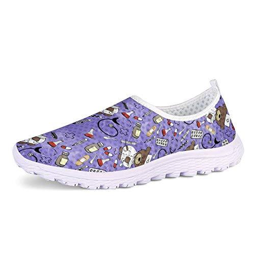 POLERO Nurse Slippers Damen Sneakers Race-On Schuhe Leichte und Bequeme Strolling Ladies Arbeitsschuhe, Lila, Größe 38 thumbnail