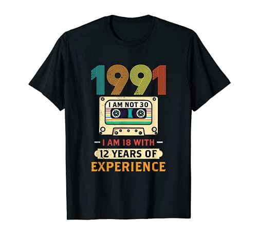 Nées En 1991 Mars Cadeau Anniversaire 30 Ans Cassette T-Shirt