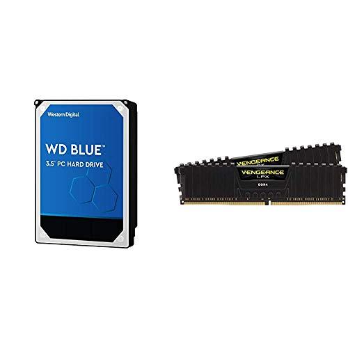 "WD Blue 2TB PC Hard Drive - 5400 RPM Class, SATA 6 Gb/s, 256 MB Cache, 3.5"" - WD20EZAZ & Corsair Vengeance LPX 16GB (2x8GB) DDR4 DRAM 3200MHz C16 Desktop Memory Kit - Black"