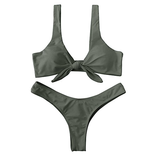 ZAFUL Damen Solide Verknotet Gepolstert Tanga Bikini Set Armeegrün M