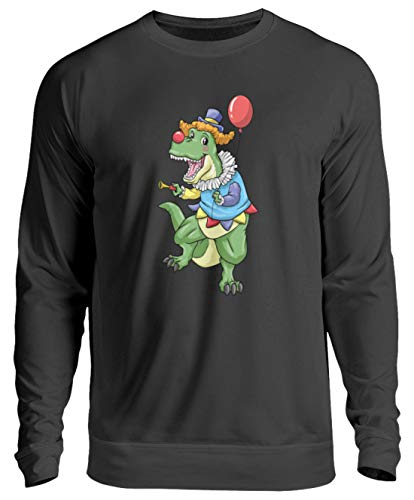 generisch T-Rex Clown Kostüm Karneval Kinder Zirkus Dinosaurier Sweatshirt Clown - Unisex Pullover -3XL-Jet Schwarz