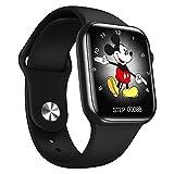 """IWO 13 Serie 6 - Smartwatch con grande schermo da 1,7"""", con Bluetooth per chiamate e musica, misurazione della temperatura, smartwatch sportivo, Nero"""