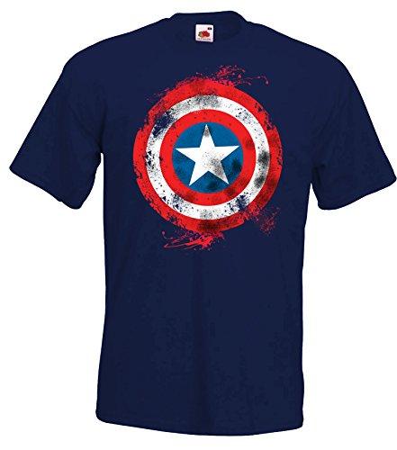 TRVPPY Herren T-Shirt Modell Captain America Brushed, Navyblau, XXL