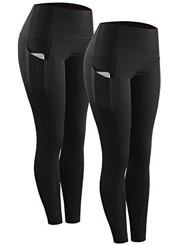 Neleus 2 Pack Tummy Control High Waist Running Workout Leggings,9017,Black,US XL,EU 2XL