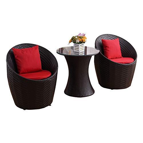 Sillas de mimbre al aire libre y muebles, relajante jardín Muebles de terraza, balcón y Tablas Sillas, moderno y sencillo de tres piezas traje