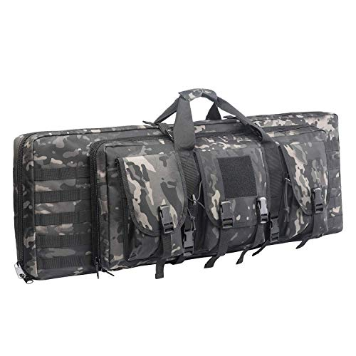 Greencity Double Rifle Case Long Rifle American Classic Tactical Gun Bag Waterproof Padded Molle Hunting Shooting Sports,48',Coyote