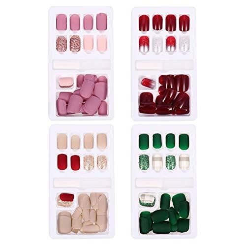Rubywoo&chili 120 Stück Künstliche Fingernägel Falsche, Natürliche Französische Nägel Tips für Frauen Mädchen ((Dunkelrot, Hellrosa, Champagner/Smaragd)