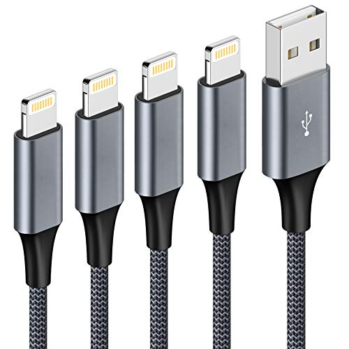 iPhone Charger Cable Lightning Cable 4Pack 0.3M 1M 2M 3M iPhone Charger Nylon Braided Fast iPhone Charging Cable Lead for iPhone 11 Pro Max XR XS X 8 Plus 7 Plus 6s Plus 6 Plus 5s 5 SE 2020, iPad