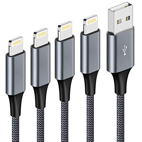 Câble iPhone Chargeur iPhone, [0.3M 1M 2M 3M/Lot de 4] Câble Lightning Nylon Tressé Câble Charge Rapide pour iPhone 11/11 Pro/X/XS/XR/8/8 Plus/7/7 Plus/6s/6s Plus/6/6 Plus/Se 2020/5s/5 - Gris