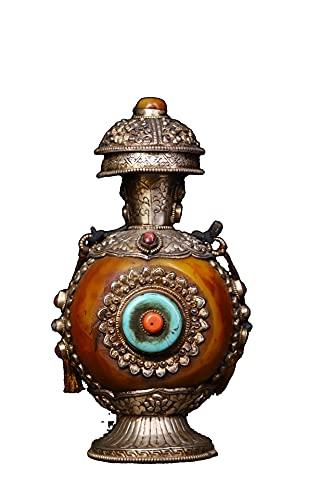 LAOJUNLU Plata tibetana batida a mano grabada dorada con incrustaciones de gemas de cera de abejas botella de tabaco antigua obra maestra colección de solitario chino tradicional joyería