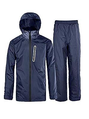Little Beauty Men's Motorcycle Waterproof Hooded 2 Pieces Rain Gear (Jacket & Trouser Suit) Blue M from Little Beauty