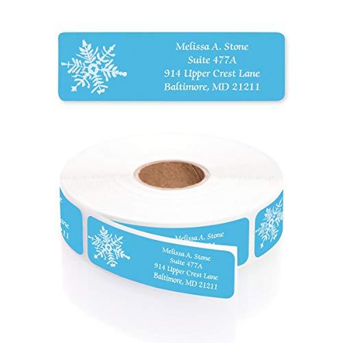 White Snowflake Designer Rolled Address Labels with Elegant Plastic Dispenser