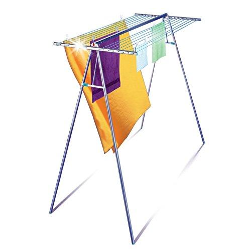 Leifheit Hochtrockner Linomaxx 320 Aluminium mit 32 m Wäschleine, Wäscheständer mit rostfreien Aluminium- und Kunststoffteilen, stabiler Standtrockner