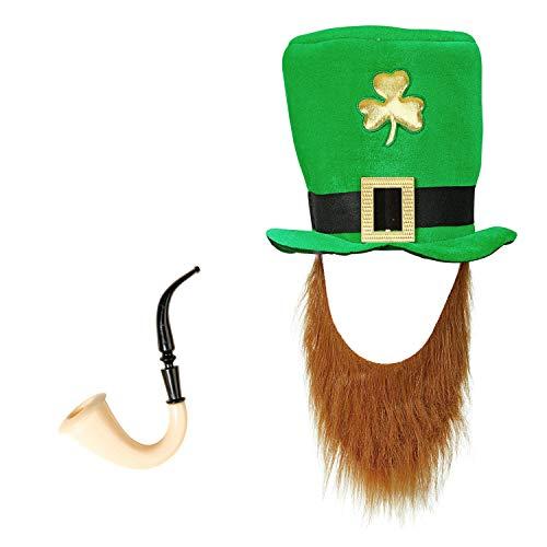 com-four® Leprechaun, Disfraces de Kobold Día de San Patricio - atuendos Accesorios Festival, irlandés - Mardi Gras, Shrovetide, Carnival, Parade, Motto Party, Irish Pub (02 Piezas - Set05)
