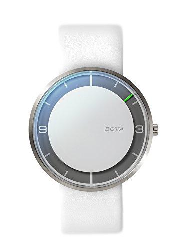 BOTTA Einzeigeruhr Herren Schweizer Quarzwerk mit Lederarmband NOVA (40 mm, Weiß)