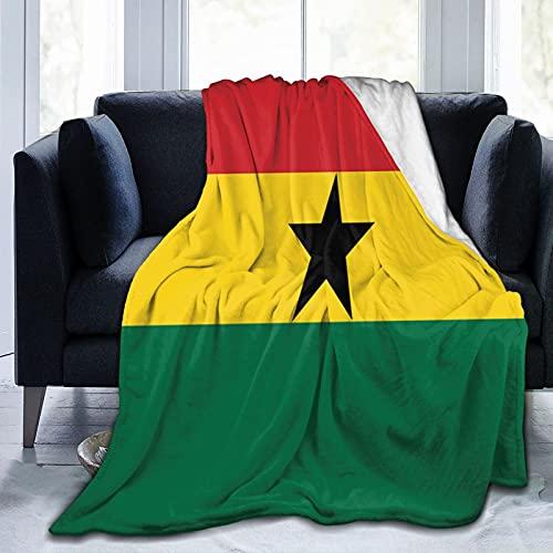 Flanelldecke mit Flagge von Ghana, flauschig, bequem, warm, leicht, weich, Überwurf für Sofa, Couch, Schlafzimmer