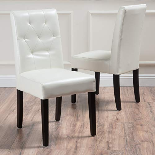 Christopher Knight Home Gentry Bonded Leather Dining Chairs, 2-Pcs Set, White
