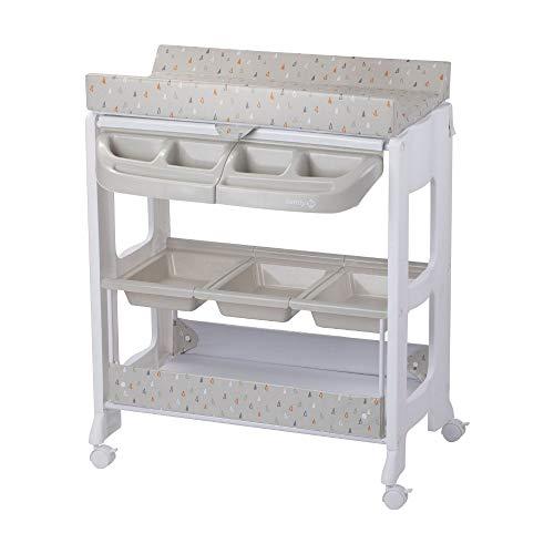 Safety 1st Dolphy Fasciatoio con vaschetta per bagnetto neonato, con materassino imbottito incluso, colore warm gray