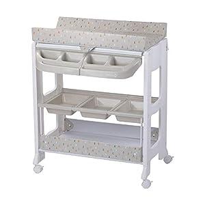 Safety 1st Dolphy Cambiador Banera bebé 2 en 1, cambiador bebé impermeable fácil de limpiar, Multiples compartimentos de almacenamiento, 4 ruedas con freno, color Warm grey