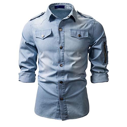 Jeanshemd Herren Langarm Slim Fit Knöpfe Western Denim Shirt Regular Fit Freizeithemden Basic Hemd Für Männer Frühling Mode All-Match Jeanshemd F-Light Blue S