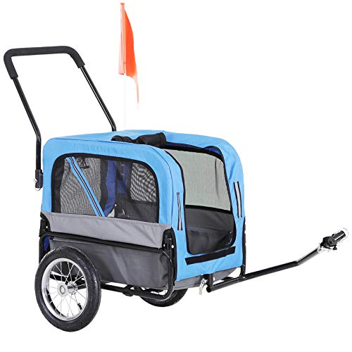 PawHut 2-in-1 Dog Bicycle Trailer/Stroller Pet Carrier with 360 Swivel Wheel, Hitch, Suspension, Safety Flag