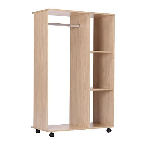 homcom Stand Appendiabiti con 3 Ripiani e Attaccapanni per Vestiti, Guardaroba Porta Abiti in Legno 128 cm