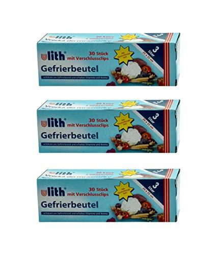 ULITH - Bolsas de congelación con clips de cierre, 25 x 32 cm, 3 litros, 90 unidades