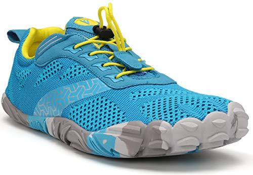 WHITIN Men's Trail Running Shoes Minimalist Barefoot 5 Five Fingers Wide Width Toe Box Size 13 Gym Workout Fitness Low Zero Drop Male Yoga Zumba Comfortable Pilates Heel Light Blue 46
