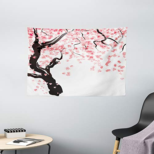 Ambesonne Floral Tapestry, Dogwood Tree Blossom in Watercolor Painting Effect Spring Season Theme Pinkish Tones, Wide Wall Hanging for Bedroom Living Room Dorm, 60' X 40', Black Pink