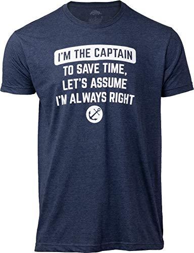 I'm The Captain, Assume I'm Right | Funny Boating Nautical Joke Boat Humor T-Shirt for Men Women-(Adult,3XL) Vintage Navy