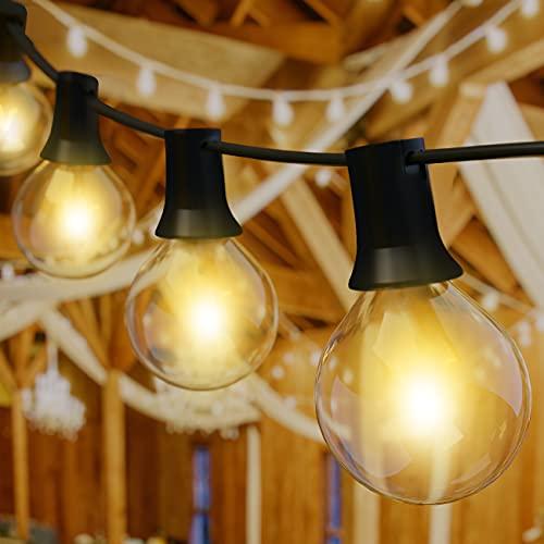 Lichterkette Außen, kolpop Lichterkette Glühbirnen Außen G40 33ft/10M Garten Lichterkette 30 Glühbirnen mit 6 Ersatzbirnen Wasserdicht Lichterkette für Garten Terrasse Bäume Hof Party Deko Warmes Weiß